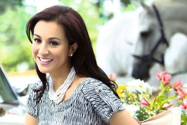 Celebrity jockey Mikee Jaworski with her Horse