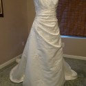 Ivory Satin Wedding Dress - Asymetrical Strapless gown, featuring Gold & Pink Embroydery w/ Beads