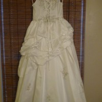 White Satin Flower Girl Dress - Size Child's 8