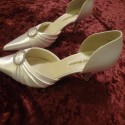 "Closed Toe White Satin 3"" heel Women's Shoes with Glass Diamond Broach"