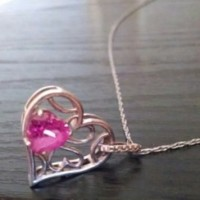 Pink Saphire Heart Shaped Sterling Silver Pendent Necklace