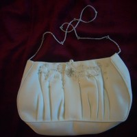 White Satin Beaded Clutch Purse