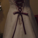 Assymetrical Wedding gown, featuring a Burgandy inlay - Size 10
