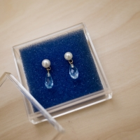 14K Yellow Gold Blue Topaz Drop Earrings with Pearl