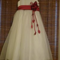 White Satin Flower Girl Dress with Rsdpberry Satin Accents