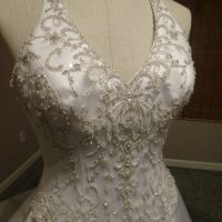 White Satin Halter Style Wedding Gown, featuring embroidery enrusted w / beads & Sequins