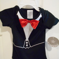 "Wedding Dressed to Drool Boy's Onesie 9 months16-18 LBS""Tuxedo Style"" Red BowTie"